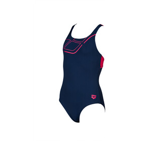 arena Essentials Swim Pro Back Badedragt Piger, navy/freak rose